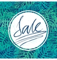 Sale lettering on jangle leaves background vector image vector image