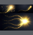 set golden particles wave sparkle stardust vector image