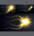 set golden particles wave sparkle stardust vector image vector image
