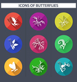 Set of butterflies icons with long shadow vector image vector image