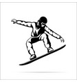 silhouette a jumping snowboarder vector image
