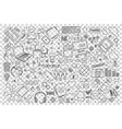 social media doodle set vector image vector image