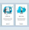 startup and best idea worker solution business vector image