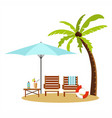 summer vacation and tourism chaise lounge vector image vector image
