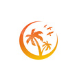 symbol of the island with palm trees vector image vector image