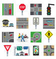 traffic signs flat icons collection vector image