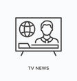 tv news flat line icon outline vector image