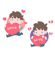 two men holding big hearts in different mood vector image