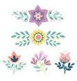 wreath herbs and flowers set simple hand drawn vector image