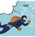 skydiving woman retro pop vector image