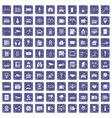 100 camera icons set grunge sapphire vector image vector image