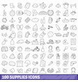 100 supplies icons set outline style vector image vector image