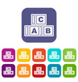 abc cubes icons set flat vector image vector image