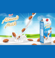 almond milk glass with splash isolated on bokeh vector image vector image