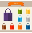 Bags colored templates for your design in flat vector image vector image