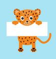 black funny jaguar cat hanging on paper board vector image vector image