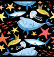 bright pattern marine animals vector image vector image