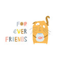 cat and fish friendship vector image vector image
