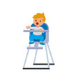 child boy in bahighchair with plate porridge vector image