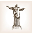 Christ statue hand drawn sketch style vector image