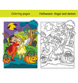 coloring with colored example halloween angel and vector image vector image