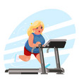 cute fat woman cardio running treadmill simulator vector image