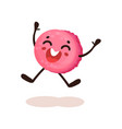 cute pink glazed donut with smiling face funny vector image vector image