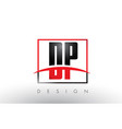 dp d p logo letters with red and black colors and vector image vector image
