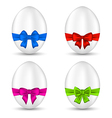 easter set celebration eggs with colorful bows vector image vector image
