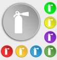 extinguisher icon sign Symbol on five flat buttons vector image