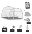 farm and agriculture monochrome icons in set vector image vector image
