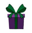 gift box wrapped ribbon decoration celebration vector image