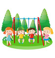 girls and boys on swing vector image vector image