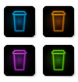 glowing neon coffee cup icon isolated on white vector image vector image