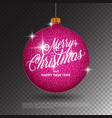 hanging christmas ball with sparkling metal vector image