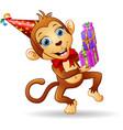 happy monkey cartoon celebrating birthday vector image