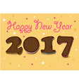 Happy New Year 2017 Chocolate cookies vector image vector image