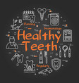 healthy teeth concept on black chalkboard vector image