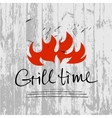 lettering hand drawn logotype with fire on vector image vector image