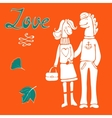 Love concept card with cute hand drawn horse vector image