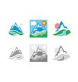 Mountains emblem set vector image
