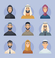 muslim avatars arabic male and female characters vector image vector image