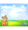 natural background with sky green meadow flower vector image vector image