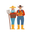 old farmer with his wife elderly couple og vector image