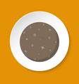 planet mercury icon in flat style on round button vector image vector image