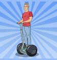 pop art young man riding segway urban transport vector image vector image