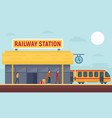 railway station concept banner flat style vector image vector image