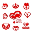 Red hearts and helping hand with drops of blood vector image