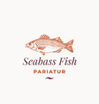 seabass fish abstract sign symbol or logo vector image vector image