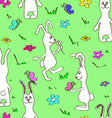 Seamless pattern of funny rabbits vector image vector image